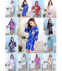 wholesale bridesmaid peacock kimono robe wedding women satin silk sleepwear