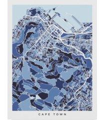 """michael tompsett cape town south africa city street map blue canvas art - 15"""" x 20"""""""