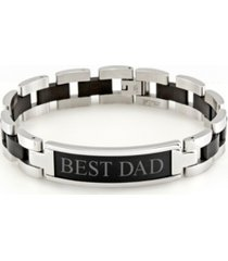 "eve's jewelry men's engravable ""best dad"" steel id bracelet"
