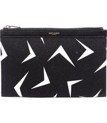 saint laurent black white geometric canvas zip pouch black/white/geometric sz: n