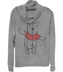 fifth sun juniors winnie the pooh basic sketch pooh fleece cowl neck sweatshirt