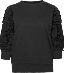 vibetsy 3/4 sweat sweat-shirt tröja svart vila