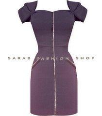 vestido ajustado con cierre central- sarab -mujer – azul oscuro