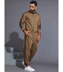 hombres moda casual rayas laterales con capucha mono
