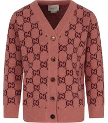 gucci pink cardigan with double gg for girl