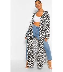abstract animal split detail kimono, black