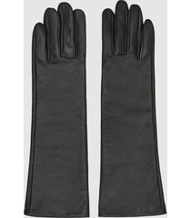 reiss carla - long leather gloves in black, womens, size xxl