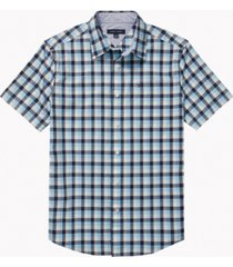 tommy hilfiger adaptive men's custom-fit river oaks check shirt with magnetic buttons