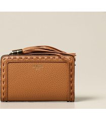 lancel shoulder bag lancel wallet in textured leather with tassel