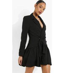 gedrappeerde blazer jurk met franjes, black