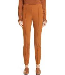 women's lafayette 148 new york gramercy acclaimed stretch pants, size 10 - metallic