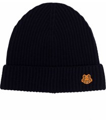 kenzo black wool hat with tiger patch
