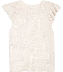 women's madewell flutter sleeve sweater, size x-large - ivory