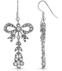2028 crystal bow drop earrings