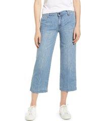 women's lucky brand crop wide leg nonstretch jeans, size 29 - blue