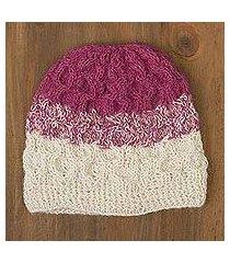 100% alpaca crocheted hat, 'berries and cream' (peru)