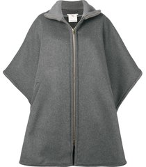 stella mccartney oversized zip-front cape - grey