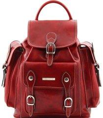 tuscany leather tl9052 pechino - zaino in pelle con ampie tasche rosso