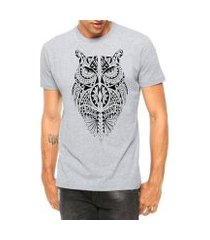 camiseta criativa urbana coruja tribal corpo tattoo manga curta
