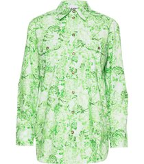 printed cotton poplin overhemd met lange mouwen groen ganni