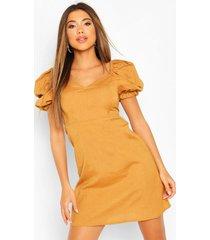 linen puff sleeve a line mini dress, tan