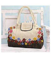 jute blend shoulder bag, 'spring flowers' (india)