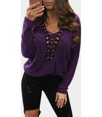 camisetas casuales delanteras con cordones y escote en v profundo sexy en púrpura