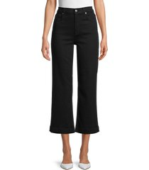 7 for all mankind women's alexa high-rise cropped wide leg jeans - nightfall - size 24 (0)