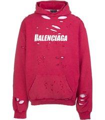 balenciaga unisex red caps destroyed hoodie