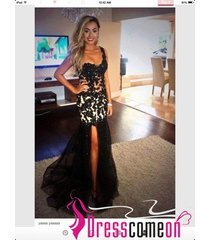 beautiful black prom dress mermaid one shoulder with slit evening party gown n22