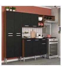 cozinha completa compacta com armário e balcáo com tampo lisboa multimóveis carvalho avelá/preto