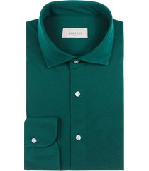 camicia da uomo su misura, maglificio maggia, verde piquet cotone, quattro stagioni | lanieri