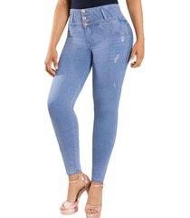 jeans colombiano control de abdomen celeste new rodivan