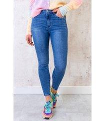skinny broek high waist donkerblauw