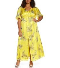 plus size women's maree pour toi floral & metallic stripe button front maxi dress