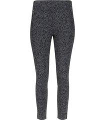 leggings con cremalleras estampado silueta flores color negro, talla 6