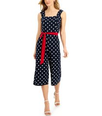 connected polka dot cropped jumpsuit