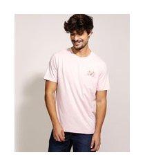 camiseta masculina pantera cor de rosa manga curta gola careca rosa claro