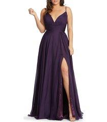 mac duggal women's empire chiffon wrap gown - sunshine - size 22w