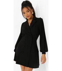 blazer jurk met shirtmouwen, black