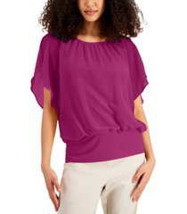 jm collection solid banded-hem top, created for macy's