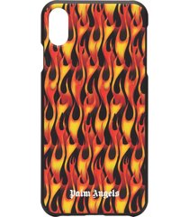 palm angels flame-print iphone xs case - black
