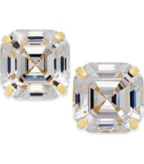 cubic zirconia asscher cut stud earrings in 10k gold