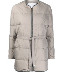 fabiana filippi belted padded down jacket - neutrals