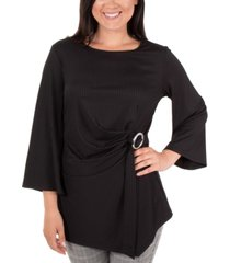 ny collection flutter-sleeve ring-belt top