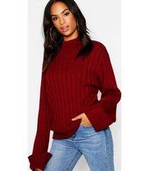 tall wide rib turn up cuff sweater, wine