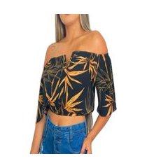 cropped top feminino ciganinha blusa decote v nstore tropical-preto