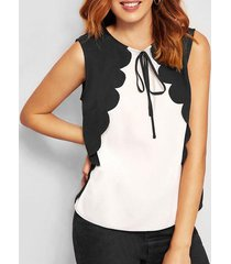 bowknot scalloped contrast tank top