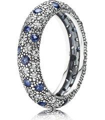 anel de prata brilho da constelação azul