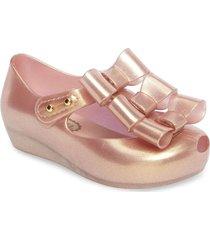 baleta rosa metalico melissa ultragirl triple bow